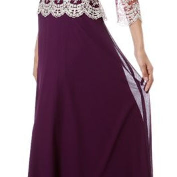 ON SPECIAL - LIMITED STOCK - Plum/Gold Mother of Groom Dress 3/4 Lace Sleeve V Neck Empire Waist