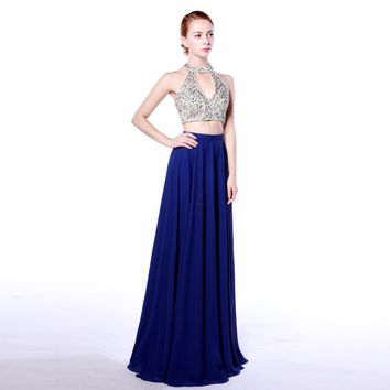 Elegant Halter Neck A Line Chiffon Sleeveless Long evening dress two pieces   Beading Floor Length
