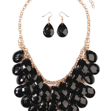 Multi Beaded Statement Necklace and Earrings