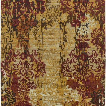 Brocade Medallion and Damasks Area Rug Yellow, Brown, Multi-Color