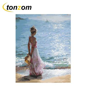 TONZOM Girl Watching Sea Diy Painting By Numbers Beach Oil Painting Cuadros Decoracion Acrylic Paint On Canvas Modern Wall Art