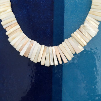 Mother of Pearl Fringe Necklace - Beaded Shell Bib Necklace
