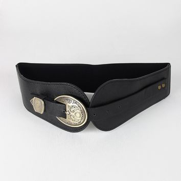 Western Buckle Wide Elastic Belt