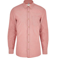 River Island MensLight red long sleeve Oxford shirt