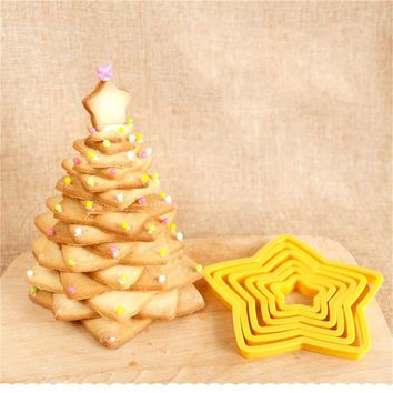6PCS/set Star Shaped Plastic Cake Cutter Mold Cookie Fondant Biscuit Cutting Mould Sugar Craft Decorating Tool