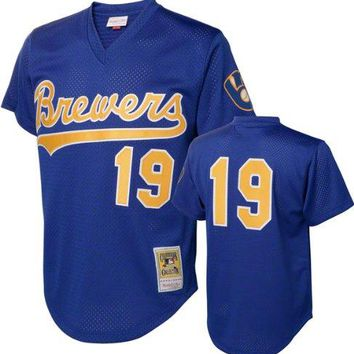MLB Mitchell & Ness Robin Yount Milwaukee Brewers 1991 Authentic Throwback Mesh Batting Practice Jersey - Royal Blue