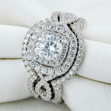 Sterling Silver Wedding Ring Sets Engagement Band For Women