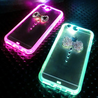 Cool Bling Bling  Bow Tie Rhinestone LED Flash Light UP Remind Incoming Call Case