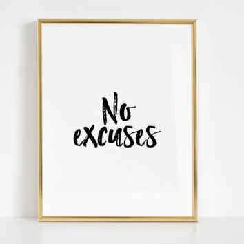 Inspirational Print Motivational Wall art No Excuses Printable Art Work Hard Play Hard Boss lady Office Decor Workout Tank Quotes For Wall