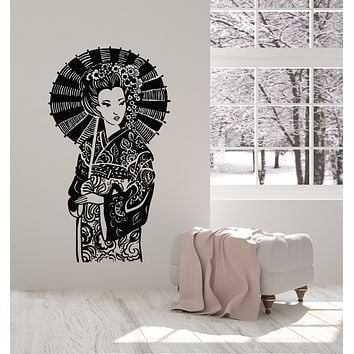 Vinyl Wall Decal Japanese Beauty Geisha With Umbrella Oriental Flowers Stickers Mural (g1152)