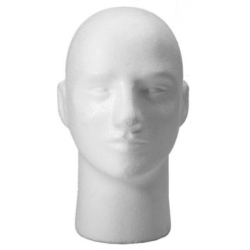 Wig Hat Glasses White Foam Mannequin Male Head Stand Model