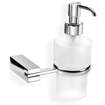 SCBA Best Wall Frosted Glass Pump Soap Lotion Dispenser Bath or Kitchen, Brass