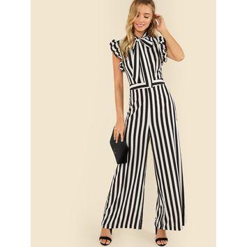 Black And White Tie Neck Ruffle Armhole Striped Palazzo Jumpsuit