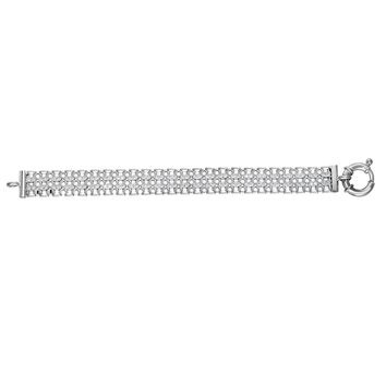 Silver with Rhodium Finish 15mm 7 Row Shiny Panther Bracelet with Clear Cz Studded 2-Diagonal Bars with Giant Spring Ring Clasp