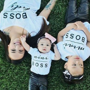 Family Look Mini Boss Print Couple T Shirts Summer Family Matching Clothes Father Mother Kids Toddler Baby Boys Girls Outfits