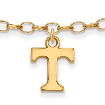 NCAA 14k Gold Plated Silver University of Tennessee Anklet, 9 Inch