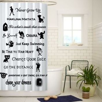 Disney Lessons Learned Mash Up Custom Shower Curtain Size 60x72 and 66x72