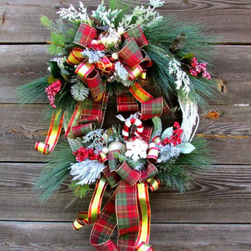 holiday wreaths for front door, Christmas wreath for front door, Christmas wall decor, Christmas door, winter wreath, pine wreath