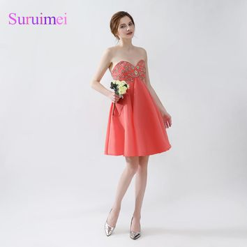Free shipping Real Picture Tulle Beaded Short orange Prom Dresses 2018 Sexy Spaghetti Strap peach Prom Gown Girl Party gowns
