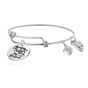 Always my sister forever my friend Family Tree Heart Charm CZ Fashion Women's Sister Bangle Jewelry Adjustable