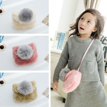 New Arrive  Girl Baby Toddler Fur Bow-knot Child School Bag Kid Shoulder Bag Child Crossbody Bag Purse Messagebag