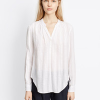 Cotton Dobby Shirred Neck Long Sleeve Blouse