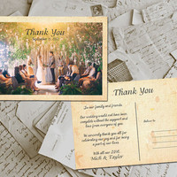 "50 Wedding Thank You Card - Perpignan Vintage Photo Personalized 4""x6"""
