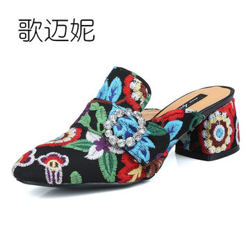 mules women high heels wedding shoes pumps womens summer heels Chinese embroidered shoes handmade kitten heel shoes slippers