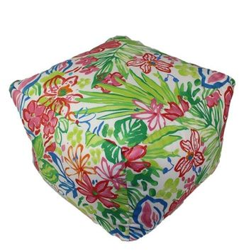 Lily Pond Explosion Indoor/Outdoor Square Pouf Ottoman Cube