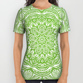 Olive Lime Green Mandala Detailed Ethnic Tribal Pattern All Over Print Shirt by AEJ Design