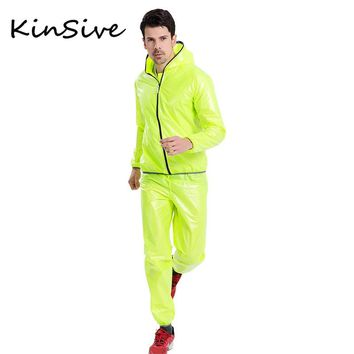 Mens tracksuit Set Fashion Ultra-Thin Waterproof Breathable Men Moto & Biker Sporting Raincoat Suit Two Piece Sets Rain Clothing