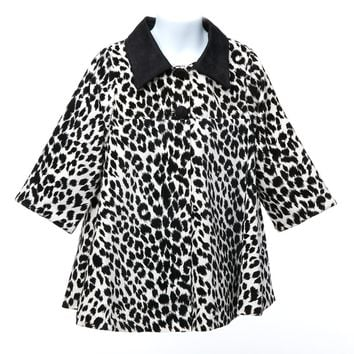 Max & Dora Tres Chic Sueded Ocelot Swing Coat with Black Bow