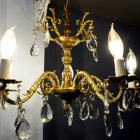 Chandelier Brass and Crystal Hollywood Regency Original to 1940's home