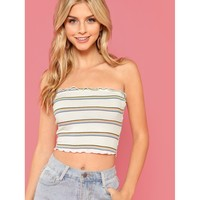 Lettuce Trim Striped Strapless Top