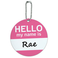 Rae Hello My Name Is Round ID Card Luggage Tag