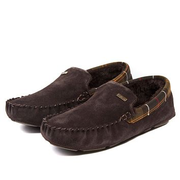 Men's Monty Moccasin Slippers in Brown by Barbour
