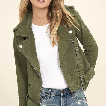 Blank NYC Backhanded Olive Green Suede Leather Moto Jacket