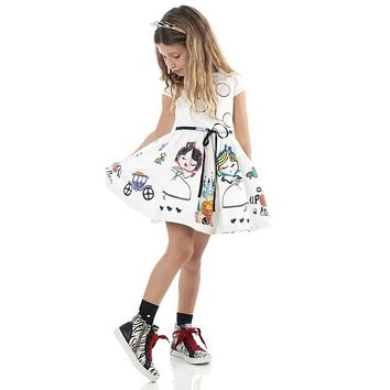 Girls Summer Dress Kids Clothes Baby Girl Dress with Sashes Character Princess Dress Children Clothing