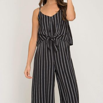 Women's Striped Culotte Jumpsuit with Front Tie