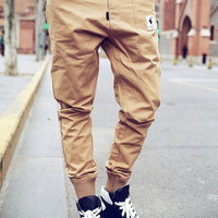 Ribbed Cuffs Zipper Fly Jogger Pants