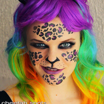 Cheetah Spots  - Temporary Costume Tattoos Makeup - set animal print Halloween 2013