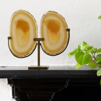 Vintage Double Agate Geode Slice on Brass Stand - Mineral Specimen