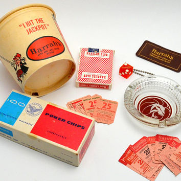 Vintage Curated Gift Box, Reno Casino, Retro Gambling Gift Box, Wax Paper Casino Bucket, Harrah's Reno, Ashtray, More! 1950s-1980s