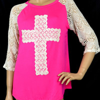Lace Cross-Raglan Lace Sleeves Shirt Top - Pink Ivory