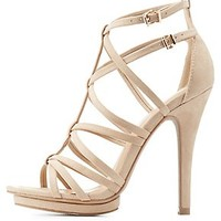 STRAPPY CAGED MINI-PLATFORM SANDALS