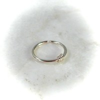 Solid 14k Gold Nose Ring Hammered & Wrapped