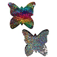 Monarch Butterfly Rainbow & Silver Glitter Color Changing Sequin Nipple Pasties