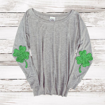 St Patricks Day Shirt Sequin Shamrock Elbow Patch Four Leaf Clover Slouchy Pullover Womens Sequin Elbow Patch Celtic FC Irish Gift For Her