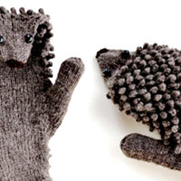 RESERVED for SABRINA - Hand Knit Hedgehog Mittens / Virgin Wool Hedgies / Hedgehog Mitts made to order in any Fiber or Color / Gloves