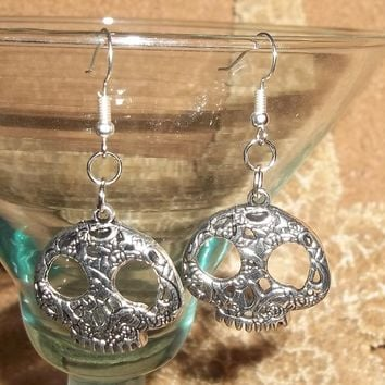 Day of the Dead Skull Candy Skull Rose Skull Stainless Steel Hand Crafted Earrings